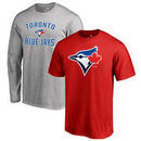 Toronto Blue Jays Fanatics Branded Big & Tall Short Sleeve and Long Sleeve T-Shirt Gift Bundle - Red/Heathered Gray