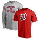 Washington Nationals Fanatics Branded Big & Tall Short Sleeve and Long Sleeve T-Shirt Gift Bundle - Red/Heathered Gray