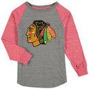 Chicago Blackhawks Fanatics Branded Youth Distressed Alternate Long Sleeve Raglan Tri-Blend T-Shirt – Heathered Gray