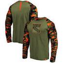 New York Rangers Fanatics Branded Recon Long Sleeve Raglan T-Shirt – Olive/Camo