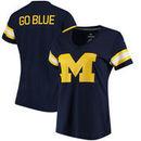 Michigan Wolverines Fanatics Branded Women's Iconic Mesh Sleeve Jersey T-Shirt - Navy