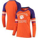 Clemson Tigers Fanatics Branded Women's Iconic Sleeve Stripe Scoop Long Sleeve T-Shirt - Orange/Purple