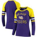 LSU Tigers Fanatics Branded Women's Iconic Sleeve Stripe Scoop Long Sleeve T-Shirt - Purple/Gold
