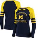 Michigan Wolverines Fanatics Branded Women's Iconic Sleeve Stripe Scoop Long Sleeve T-Shirt - Navy/Maize