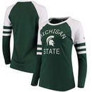 Michigan State Spartans Fanatics Branded Women's Iconic Sleeve Stripe Scoop Long Sleeve T-Shirt - Green/White