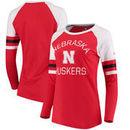 Nebraska Cornhuskers Fanatics Branded Women's Iconic Sleeve Stripe Scoop Long Sleeve T-Shirt - Scarlet/White