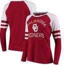 Oklahoma Sooners Fanatics Branded Women's Iconic Sleeve Stripe Scoop Long Sleeve T-Shirt - Crimson/White