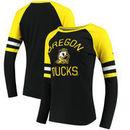 Oregon Ducks Fanatics Branded Women's Iconic Sleeve Stripe Scoop Long Sleeve T-Shirt - Black/Yellow