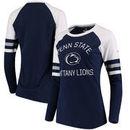Penn State Nittany Lions Fanatics Branded Women's Iconic Sleeve Stripe Scoop Long Sleeve T-Shirt - Navy/White