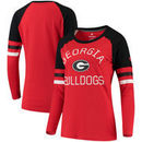 Georgia Bulldogs Fanatics Branded Women's Iconic Sleeve Stripe Scoop Long Sleeve T-Shirt - Red/Black