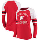 Wisconsin Badgers Fanatics Branded Women's Iconic Sleeve Stripe Scoop Long Sleeve T-Shirt - Red/White