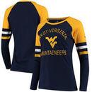 West Virginia Mountaineers Fanatics Branded Women's Iconic Sleeve Stripe Scoop Long Sleeve T-Shirt - Navy/Gold