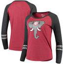 Alabama Crimson Tide Women's Elephant Houndstooth 3/4-Sleeve Raglan T-Shirt - Crimson