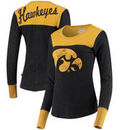 Iowa Hawkeyes Touch by Alyssa Milano Women's Blindside Burnout Long Sleeve Thermal T-Shirt - Black/Gold