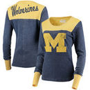 Michigan Wolverines Touch by Alyssa Milano Women's Blindside Burnout Long Sleeve Thermal T-Shirt - Navy/Maize