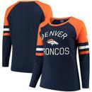 Denver Broncos NFL Pro Line by Fanatics Branded Women's Plus Size Iconic Long Sleeve T-Shirt - Navy/Orange