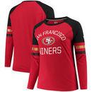 San Francisco 49ers NFL Pro Line by Fanatics Branded Women's Plus Size Iconic Long Sleeve T-Shirt - Scarlet/Black