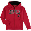 Louisville Cardinals Youth Applique Arch & Logo Full-Zip Hoodie - Red