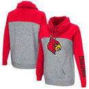 Louisville Cardinals Colosseum Women's Color Block Springboard Funnel Neck Pullover Sweatshirt - Red