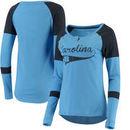 North Carolina Tar Heels Colosseum Women's Routine Raglan Henley Long Sleeve T-Shirt - Carolina Blue