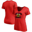 Chicago Blackhawks Fanatics Branded Women's Plus Sizes Hometown Collection Chi Town Hawks T-Shirt - Red