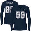 Dez Bryant Dallas Cowboys Women's Shimmer Away Foil Name & Number Long Sleeve V-Neck T-Shirt - Navy