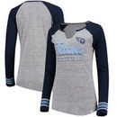 Tennessee Titans Majestic Women's Lead Play Long Sleeve V-Notch T-Shirt - Heathered Gray/Heathered Navy
