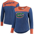 Florida Gators Touch by Alyssa Milano Women's Plus Size Blindside Burnout Long Sleeve Thermal T-Shirt - Royal