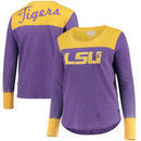 LSU Tigers Touch by Alyssa Milano Women's Plus Size Blindside Burnout Long Sleeve Thermal T-Shirt - Purple