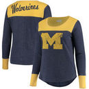 Michigan Wolverines Touch by Alyssa Milano Women's Plus Size Blindside Burnout Long Sleeve Thermal T-Shirt - Navy