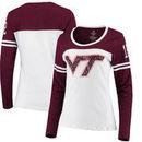 Virginia Tech Hokies Colosseum Women's Hornet Football Long Sleeve T-Shirt - White