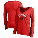 Toronto Raptors Fanatics Branded Women's Door Arch Ladies V-Neck Long Sleeve T-Shirt - Red