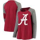 Alabama Crimson Tide Women's Plus Size Preppy Elbow Patch Slub Long Sleeve T-Shirt - Crimson/Charcoal