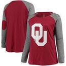 Oklahoma Sooners Women's Plus Size Preppy Elbow Patch Slub Long Sleeve T-Shirt - Crimson/Charcoal