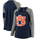 Auburn Tigers Women's Plus Size Preppy Elbow Patch Slub Long Sleeve T-Shirt - Navy/Charcoal