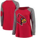 Louisville Cardinals Women's Plus Size Preppy Elbow Patch Slub Long Sleeve T-Shirt - Red/Charcoal