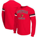 Louisville Cardinals Colosseum Huddle Up II Striped Long Sleeve T-Shirt - Red