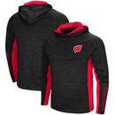 Wisconsin Badgers Colosseum Upstart Long Sleeve Hooded T-Shirt - Heathered Black