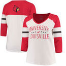 Louisville Cardinals Pressbox Women's Plus Size Pomona 3/4 Sleeve V-Neck T-Shirt – Cream/Red