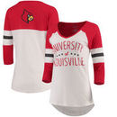 Louisville Cardinals Pressbox Women's Pomona 3/4-Sleeve V-Neck T-Shirt – Cream/Red