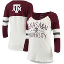Texas A&M Aggies Pressbox Women's Pomona 3/4-Sleeve V-Neck T-Shirt – Cream/Maroon