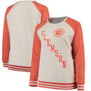 Clemson Tigers Pressbox Women's Plus Size Sundown Vintage Pullover Hoodie - Cream/Orange