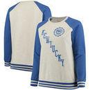 Kentucky Wildcats Pressbox Women's Plus Size Sundown Vintage Pullover Hoodie - Cream/Royal