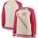 Nebraska Cornhuskers Pressbox Women's Plus Size Sundown Vintage Pullover Hoodie - Cream/Scarlet