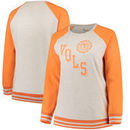 Tennessee Volunteers Pressbox Women's Plus Size Sundown Vintage Pullover Hoodie - Cream/Tennessee Orange