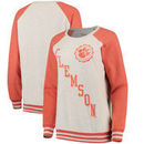 Clemson Tigers Pressbox Women's Sundown Vintage Pullover Sweatshirt - Cream/Orange