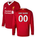 Liverpool New Balance Youth 2017/18 Custom Home Replica Long Sleeve Jersey - Red