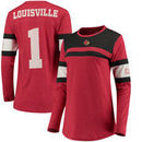 Louisville Cardinals Pressbox Women's La Salle Crew Long Sleeve Number T-Shirt – Red
