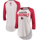 Louisville Cardinals Pressbox Women's Quin Three-Quarter Sleeve Raglan T-Shirt – White