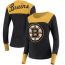 Boston Bruins Touch by Alyssa Milano Women's Blindside Thermal Long Sleeve Tri-Blend T-Shirt – Black